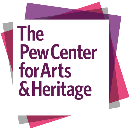 overlay of gray, pink, purple, and white squares with text for The Pew Center for Arts & Heritage on top of the white square.