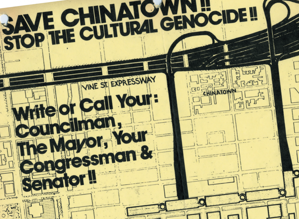 Event flyer reading: Save Chinatown, stop the cultural genocide