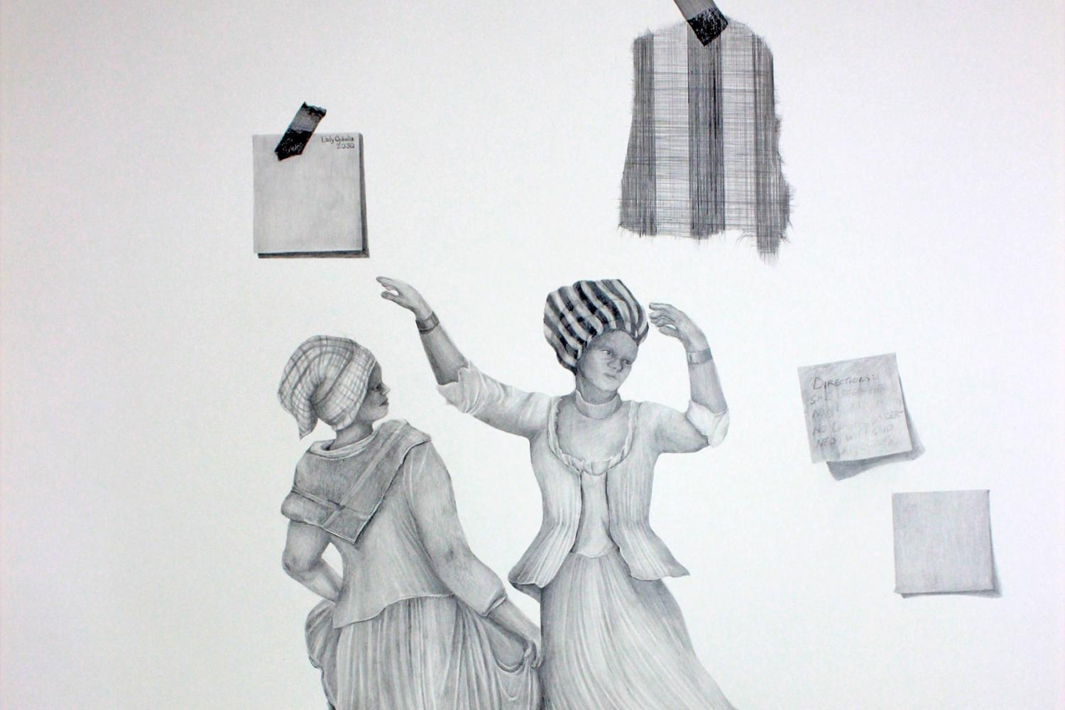 A graphite drawing of two people dancing - Alexis Callendar - Tell me why we dance again