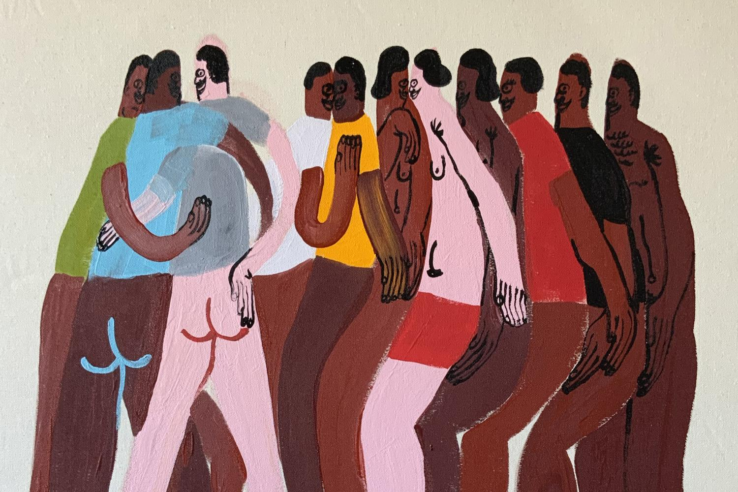 Painting of a huddle of people of color without pants, by Jeffrey Cheung (2020)