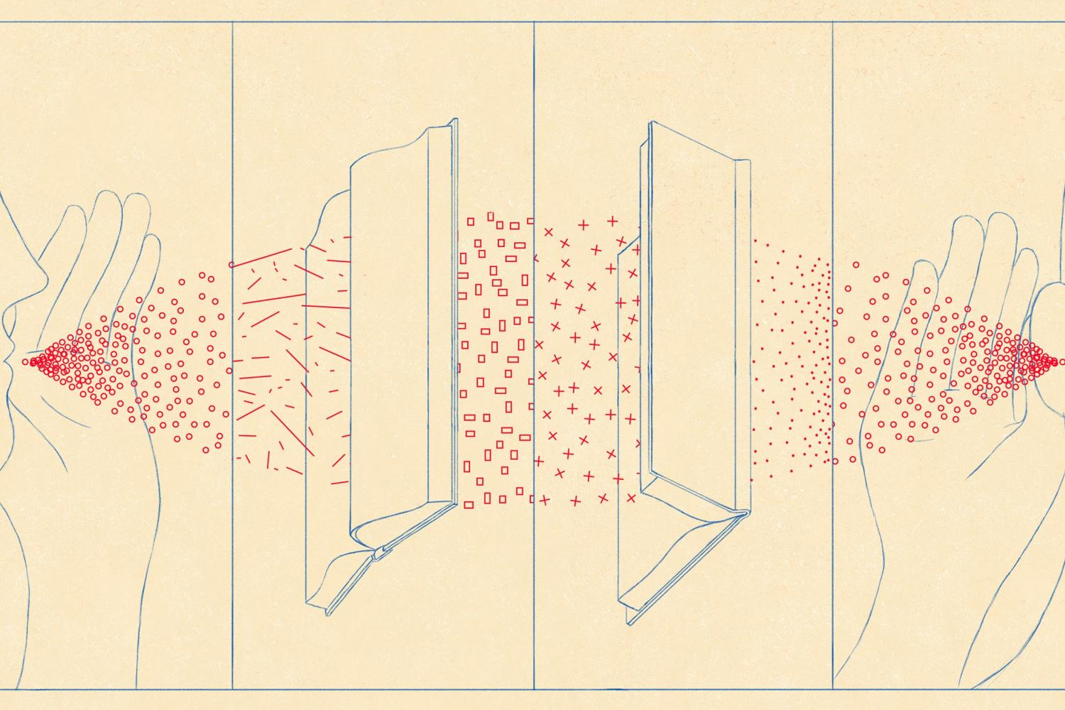 Illustration by Daniel Liévano as originally seen on The New Yorker website. Illustration of an outline of a person speaking into a book which transmits to another book and into another outline of a person listening to convey translated writing.