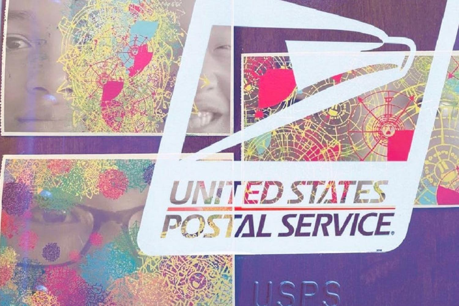 A white USPS logo overlays three AAI postcards.