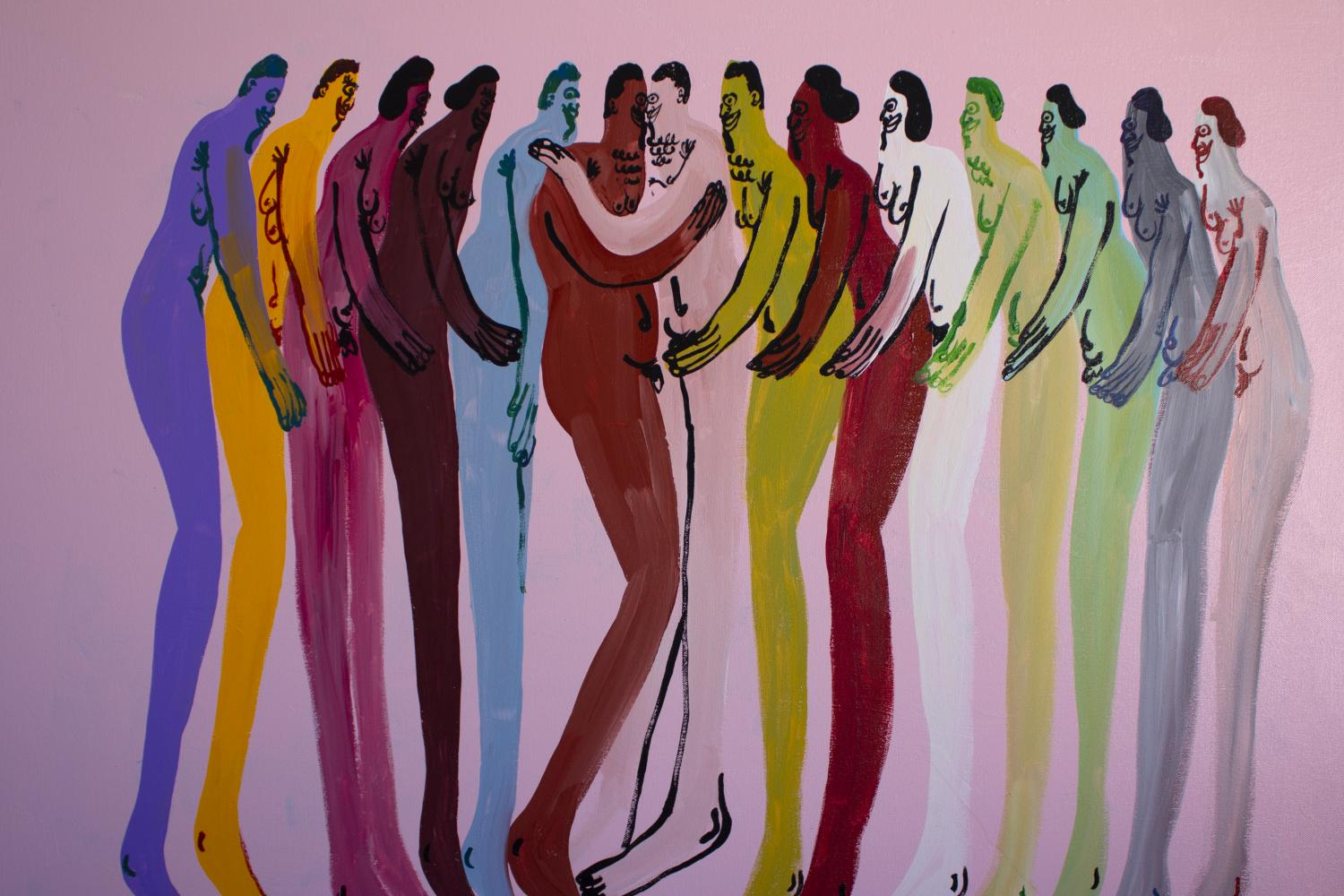 Figural painting of over a dozen naked bodies of different colors holding each other affectionately, on a pink background, by Jeffrey Cheung