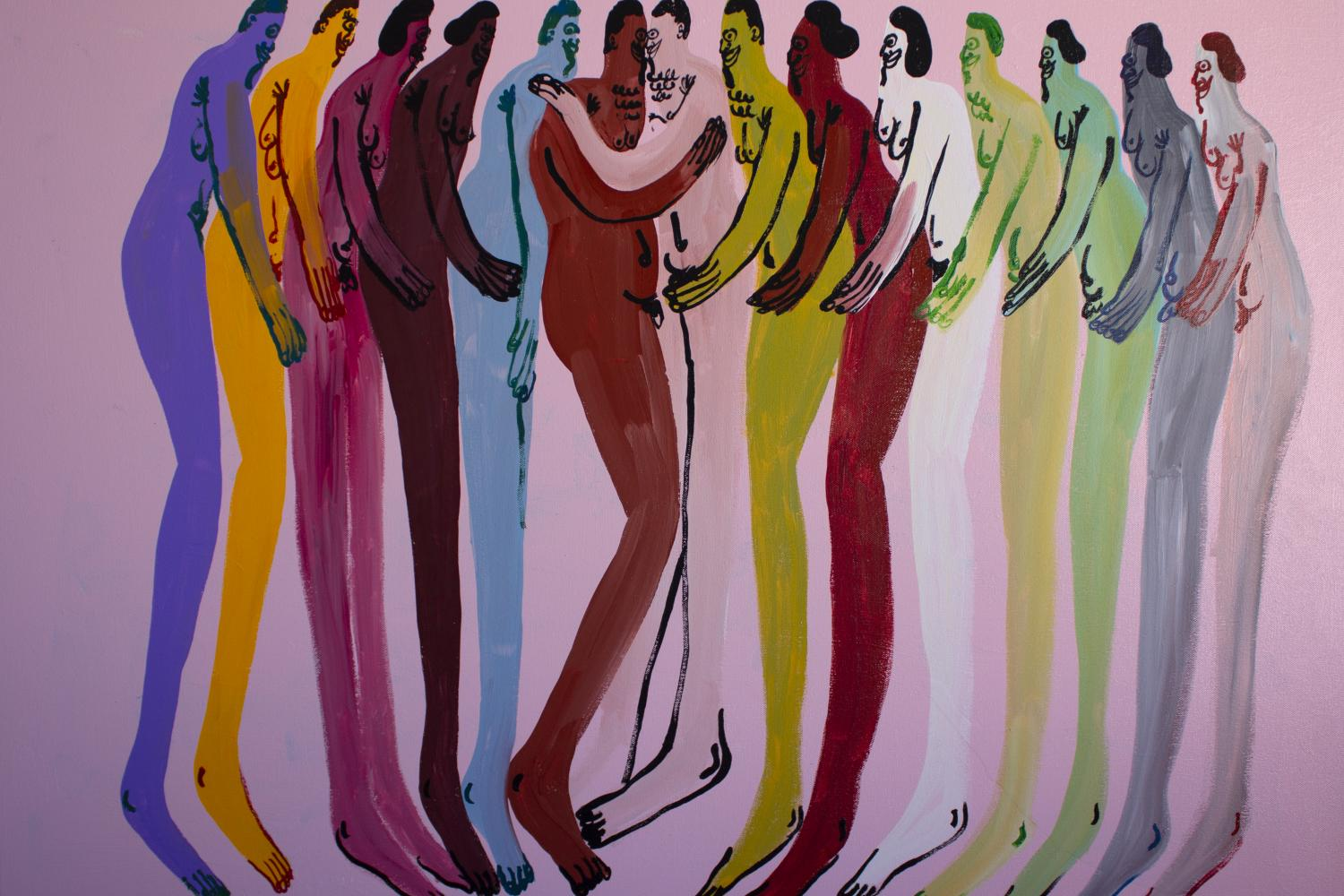 Figural painting of over a dozen naked bodies in different colors, hugging each other, by jeffrey cheung